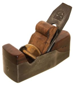 A ROSEWOOD INFILL SMOOTHING PLANE by H. Slater, Clerkenwell, London, England.